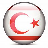 Map On Flag Button Of Turkish Republic Of North Cyprus