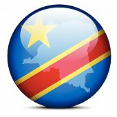 Map On Flag Button Of Democratic Republic Of The Congo