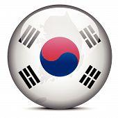 Map On Flag Button Of Republic Of Korea, South Korea