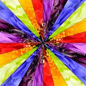 Rainbow Flower Center Collage Geometric Pattern