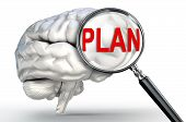 Plan Word On Magnifying Glass And Human Brain