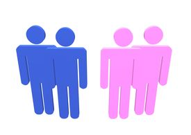 stock photo of same sex marriage  - Illustration a gay and lesbian couple or straight couples standing by their friends - JPG