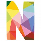 foto of letter n  - N low poly wrapping surface vector colorful letter isolated on white background illustration - JPG