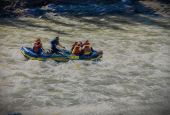image of raft  - Illustrative rafting on a river with a canvas texture - JPG