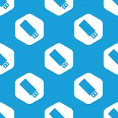 foto of memory stick  - Blue image of usb stick drive in white hexagon - JPG