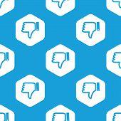 pic of dislike  - Blue image of dislike symbol in white hexagon - JPG