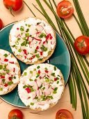 stock photo of vegetarian meal  - Vegetarian meal with crispy buns cottage cheese and vegetables - JPG