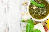 image of italian food  - Homemade green basil pesto sauce and fresh ingredients - JPG