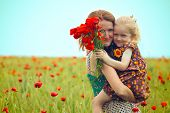 foto of mummy  - mummy with daughter at the poppies field - JPG