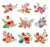 image of poppy flower  - Watercolor hand drawn  buttonholes with colorful flowers and leaves - JPG