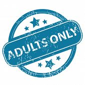 stock photo of adults only  - Round rubber stamp with words ADULTS ONLY and stars - JPG
