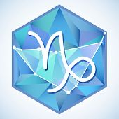pic of capricorn  - Zodiac sign and constellation Capricorn into hexagonal frames on low poly background - JPG