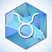 foto of taurus  - Zodiac sign and constellation Taurus into hexagonal frames on low poly background - JPG