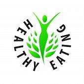 pic of food logo  - Vector logo girl for healthy food - JPG