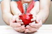 image of piggy  - close up of father and son hands holding red piggy bank - JPG