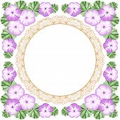 stock photo of geranium  - Vintage flower frame with geraniums and lace frame - JPG