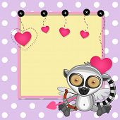 foto of cupid  - Cupid Lemur with a bow on a background of frame - JPG