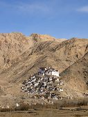 foto of jammu kashmir  - Village and temple on the hill in Leh city Ladakh Region Jammu and Kashmir State India - JPG