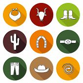 foto of bull-riding  - Set of hand drawn rodeo icons for your design - JPG