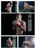 stock photo of muay thai  - Set photos of a young man who is engaged in boxing or Muay Thai  - JPG