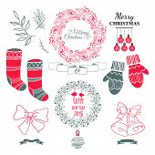 picture of christmas wreath  - Set of christmas ornaments and decorative elements vintage ribbon labels frames badge stickers - JPG