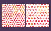 picture of color geometric shape  - Set of 2 bright watercolor abstract seamless pattern - JPG