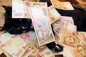 Постер, плакат: Black Cat Lying And Covered With Ukrainian Money