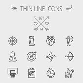pic of archery  - Sports thin line icon set for web and mobile - JPG