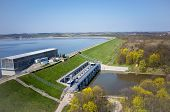 picture of dam  - Modern dam on Otmuchow lake in Poland - JPG