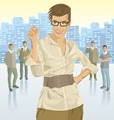 picture of city silhouette  - Vector business woman with silhouettes of business people - JPG