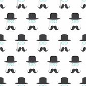 stock photo of bowler hat  - Seamless pattern with repeating grey mustache pince - JPG
