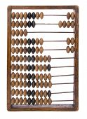 pic of subtraction  - Old wooden school abacus isolated on a white background - JPG