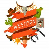 image of cowboys  - Wild west background with cowboy objects and design elements - JPG