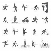 stock photo of kickboxing  - Black silhouettes figures of athletes popular sports - JPG