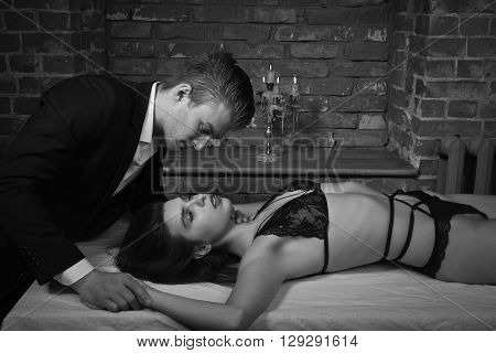 Domineering Lover Kisses His Sexy