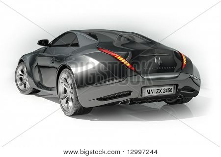 Black Sports Car Isolated On White Background. My Own Car Design. Logo On  The