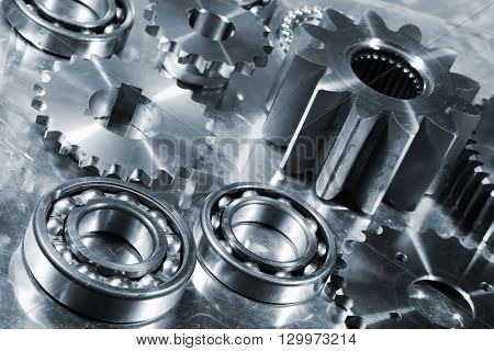 titanium and steel ball-bearings and gears, aerospace engineering parts