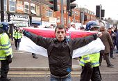 EDL (English Defence League) protestor in Luton, UK