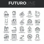 Fitness Recreation Futuro Line Icons Set poster