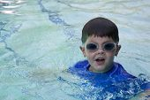 Cute Boy With Swimming Goggles poster