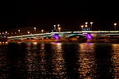 Night Bridge In St. Petersburg City