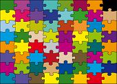 64 pieces puzzle vector color