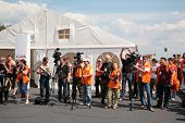 MOSCOW - JUNE 22: Photographers and press on The second stage of the Championship of Russia June 22, 2008 in autodrome