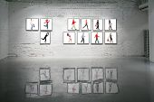 frames with walking people on white brick wall and reflections on floor collage