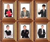 business themed collage, Framed half-length portraits of six successful businessmen