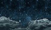 backgrounds night sky with stars and moon and clouds. wood. Elements of this image furnished by NASA poster