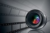 Lens & Film Strip On Black