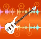 white electro guitar on abstract colorful equalizer bar background.
