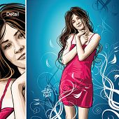 Girl on vector floral background