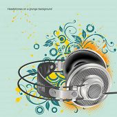 Headphones on a floral background
